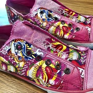 Ed Hardy Pink Canvas Sneakers